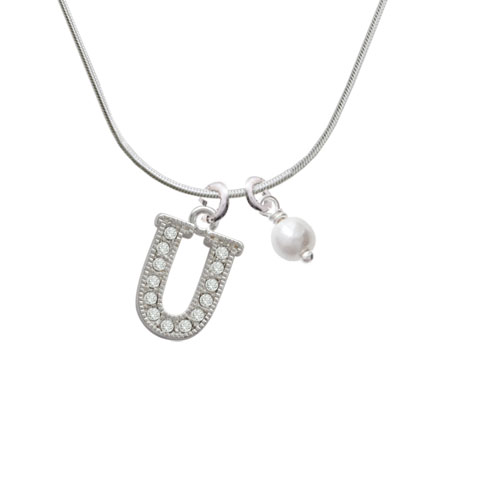 Crystal Initial - U - Beaded Border - Imitation Pearl Bicone Crystal Necklace