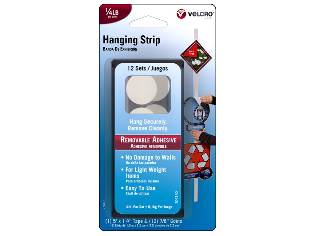 Velcro Removable Light Duty Hook and Loop Fasteners, 5' Tape and 12 Coins by Velcro