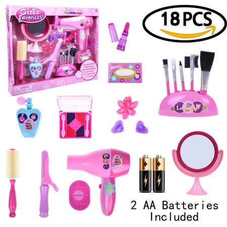 Makeup Kit Pretend Play Toys for Little Girls Fashion Stylish Beauty Hair Salon Barber Pink Toy Set - 18 PCs F-40 - Chinese Girl Makeup For Halloween