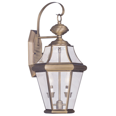 Wall Sconces 2 Light With Clear Beveled Glass Antique Brass size 21 in 120 Watts - World of Crystal