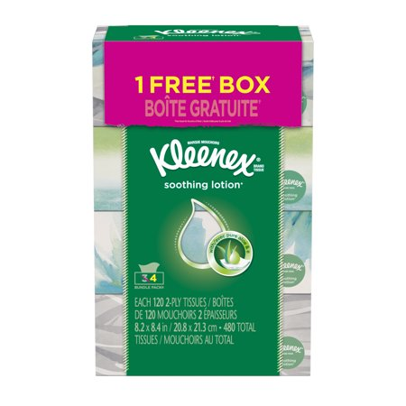 Kleenex Facial Tissues, Lotion, 120 Sheets, Pack of 4 (Designs May Vary)