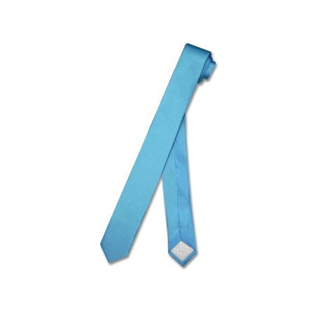 (100% SILK Narrow NeckTie EXTRA Skinny TURQUOISE AQUA BLUE Men's 1.5