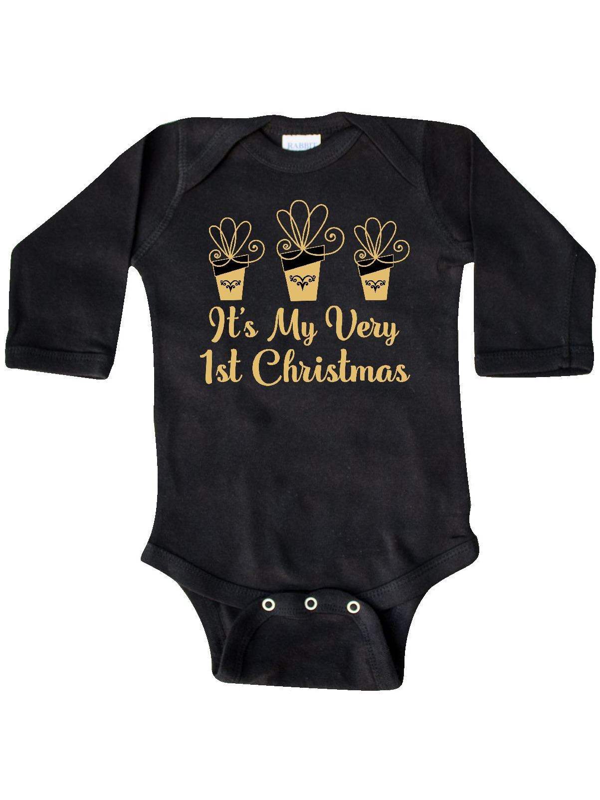 inktastic 1st Christmas Girls Outfit Gold Gift Toddler T-Shirt
