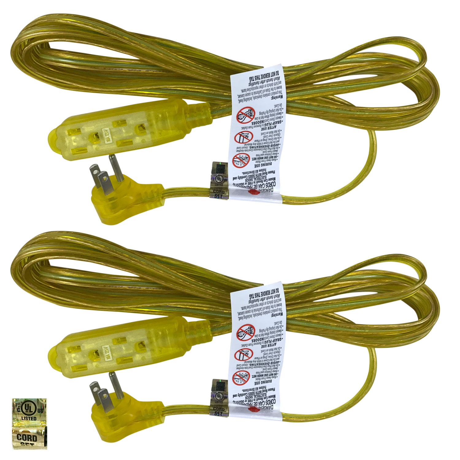 Royal Designs Set of 2 Gold Extension Cords 8 Ft. 3 Prong 18 Gauge Indoor Outdoor Use