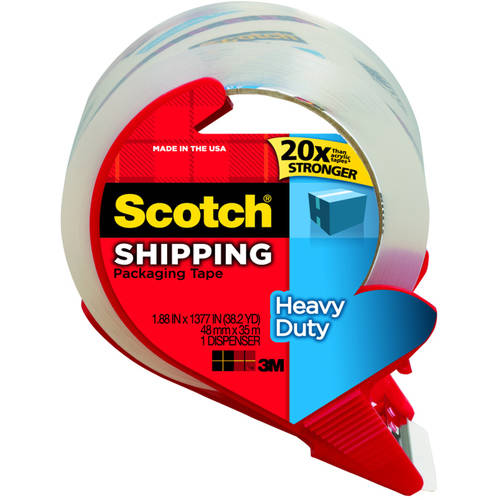"""3M 3850-RD 1.88"""" x 163.8"""" Clear Shipping Packaging Tape with Dispenser"""