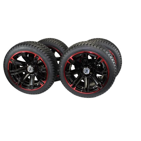 (Set of 4) 205/40-14 DOT Tire w/Glossy Black/Red Aluminum Wheel Assemblies for Golf (Red Dot Tire)