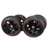 (Set of 4) 205/40-14 DOT Tire w/Glossy Black/Red Aluminum Wheel Assemblies for Golf Carts/Buggies