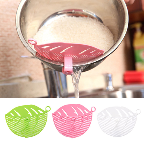 Girl12Queen Durable Kitchen Clips Tool Clean Leaf Shape Beans Peas Rice Washer Sieve Filter