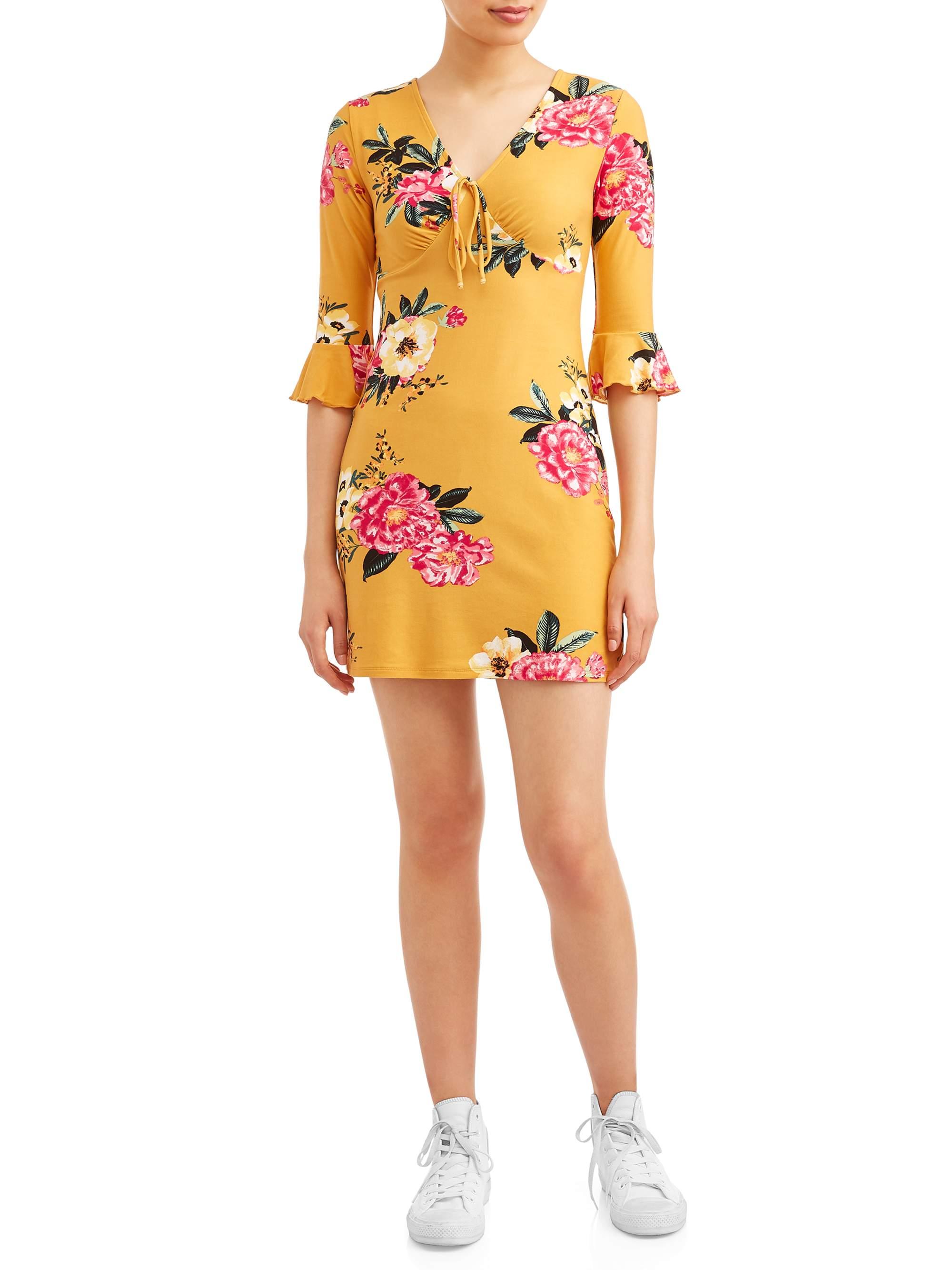 Juniors' Floral Printed Ruffle Elbow Sleeve Dress
