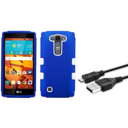 Insten Tuff Hard Hybrid Rubberized Silicone Cover Case For Lg Magna Volt 2   Blue White   Micro Usb Data Charging Cable