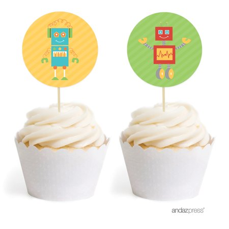 Robot Birthday Cupcake Topper DIY Party Favors Kit, - Robot Party Favor