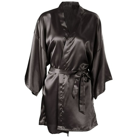 Wedding Short Kimono Silk Satin Bathrobe Black (Red Satin Robes)