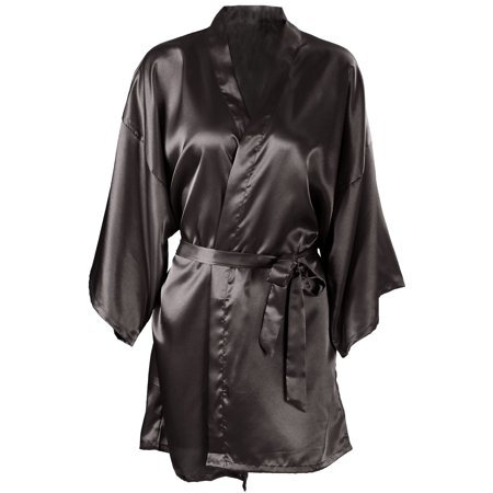 Women's Pure Color Kimono Satin Robe Nightgown Sleepwear Short Black](Red Satin Robes)