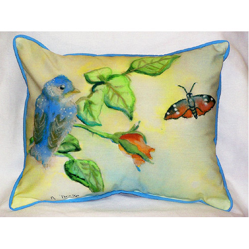 Betsy Drake Interiors Garden Bird Indoor/Outdoor Lumbar Pillow