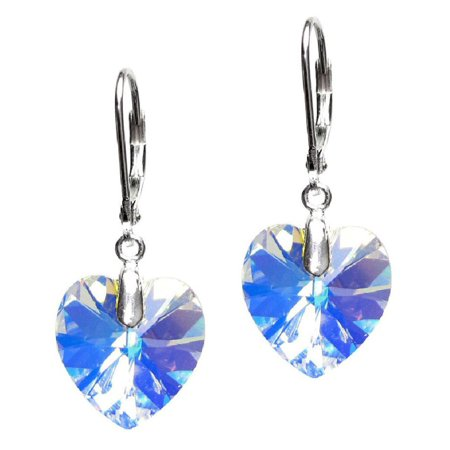 Clear AB Swarovski Elements Heart Crystal with Sterling Silver Leverback Dangle Earrings