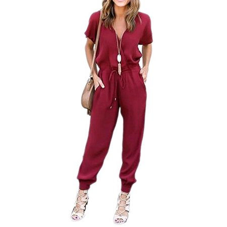 DYMADE Women's V Neck Solid Loose Long Jumpsuits Romper Playsuit With Adjustable Drawstrings - Romper Adult