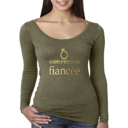 New Way 1192 - Women's Long Sleeve T-Shirt Girlfriend Fiancee Engaged Married Relationship Small Military