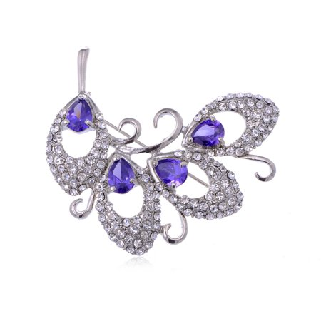 Purple Teardrop Cut Rhinestone Abstract Swirl of Leaves Fashion Pin Brooch