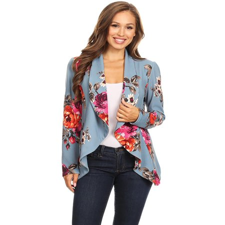MOA COLLECTION Women's Pattern Print Casual Office Long Sleeve Open Front Blazer jacket/Made in USA