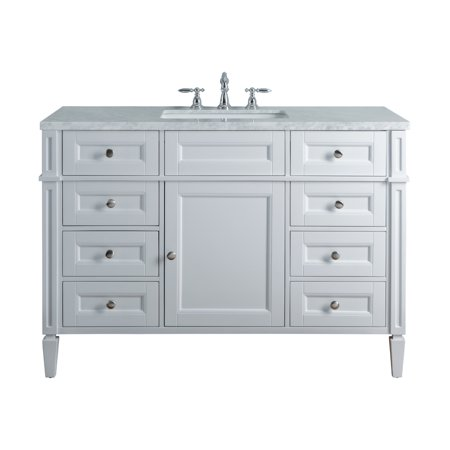 Stufurhome Anastasia French 48 Inches White Single Sink Bathroom
