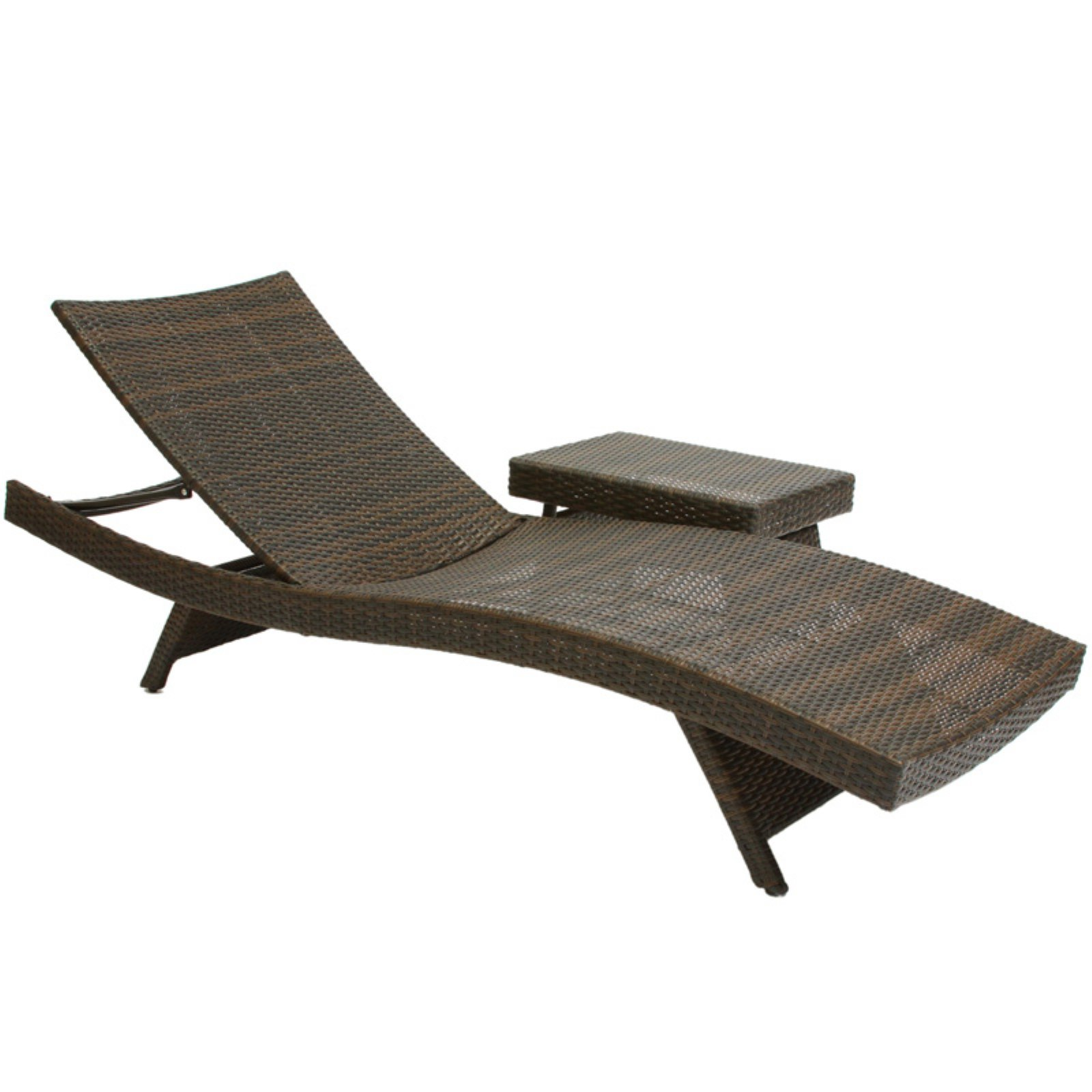 Wicker Multi-brown Outdoor Adjustable Lounge and Table