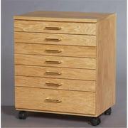 SMI TB700 Oak Taboret, 7-Drawer, Vanguard, Natural Oak Finish