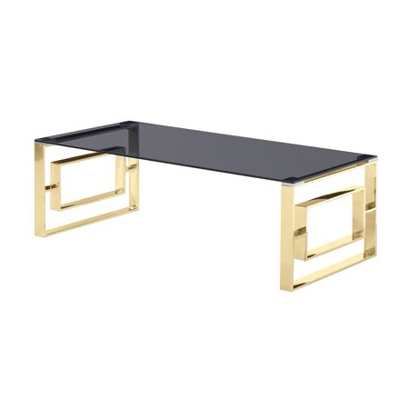 Gold Coffee Table Glass Top.Best Master Furniture E28 Smoked Glass Top With Gold Plated Frame Coffee Table Walmart Com