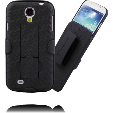 Galaxy S4 Case: Stalion® Secure Shell & Belt Clip Holster Combo with Kickstand (Jet Black) 180° Degree Rotating Locking Swivel + Shockproof Protection ()