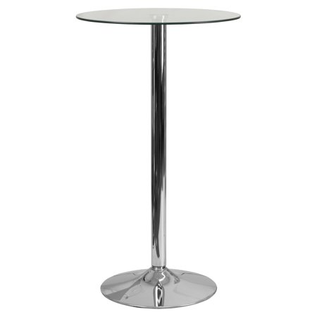 Spread Table Base - Flash Furniture 23.75'' Round Glass Table with 41.75''H Chrome Base