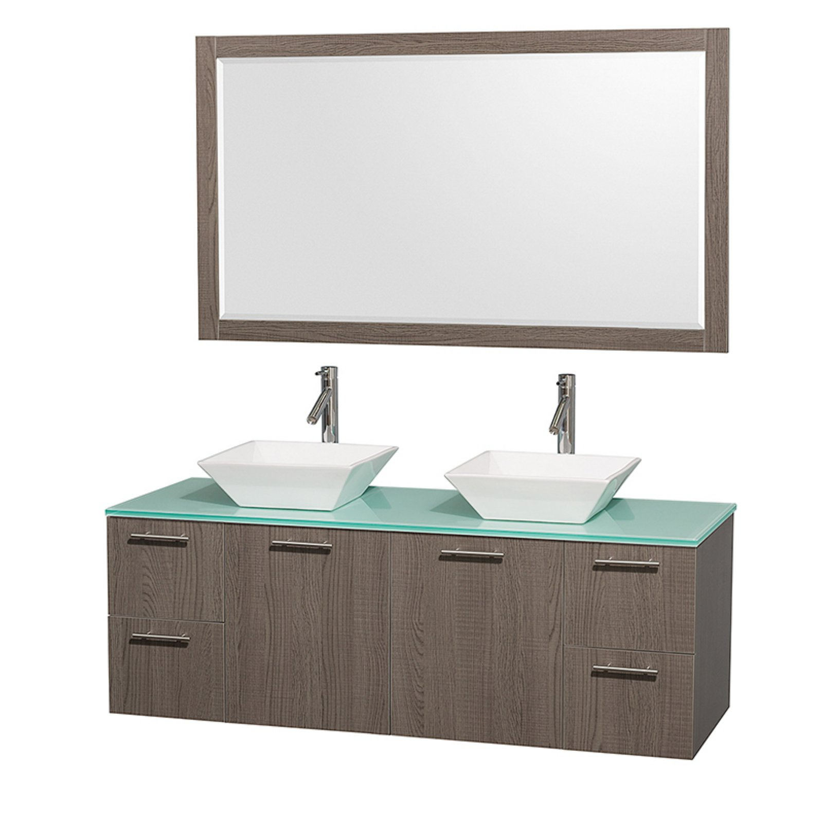 """Wyndham Collection Amare 60"""" Double Bathroom Vanity, Grey Oak with White Man-Made Stone Top with White Porcelain Sinks, and 58"""" Mirror"""