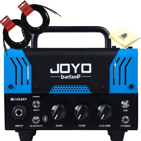 JOYO BlueJay Bantamp 20w Pre Amp Tube Hybrid Guitar Amp head with Built in Cab Speaker Amp Simulation and Bluetooth music playing with 2 Instrument Cable and Polishing Cloth (Amc Head)