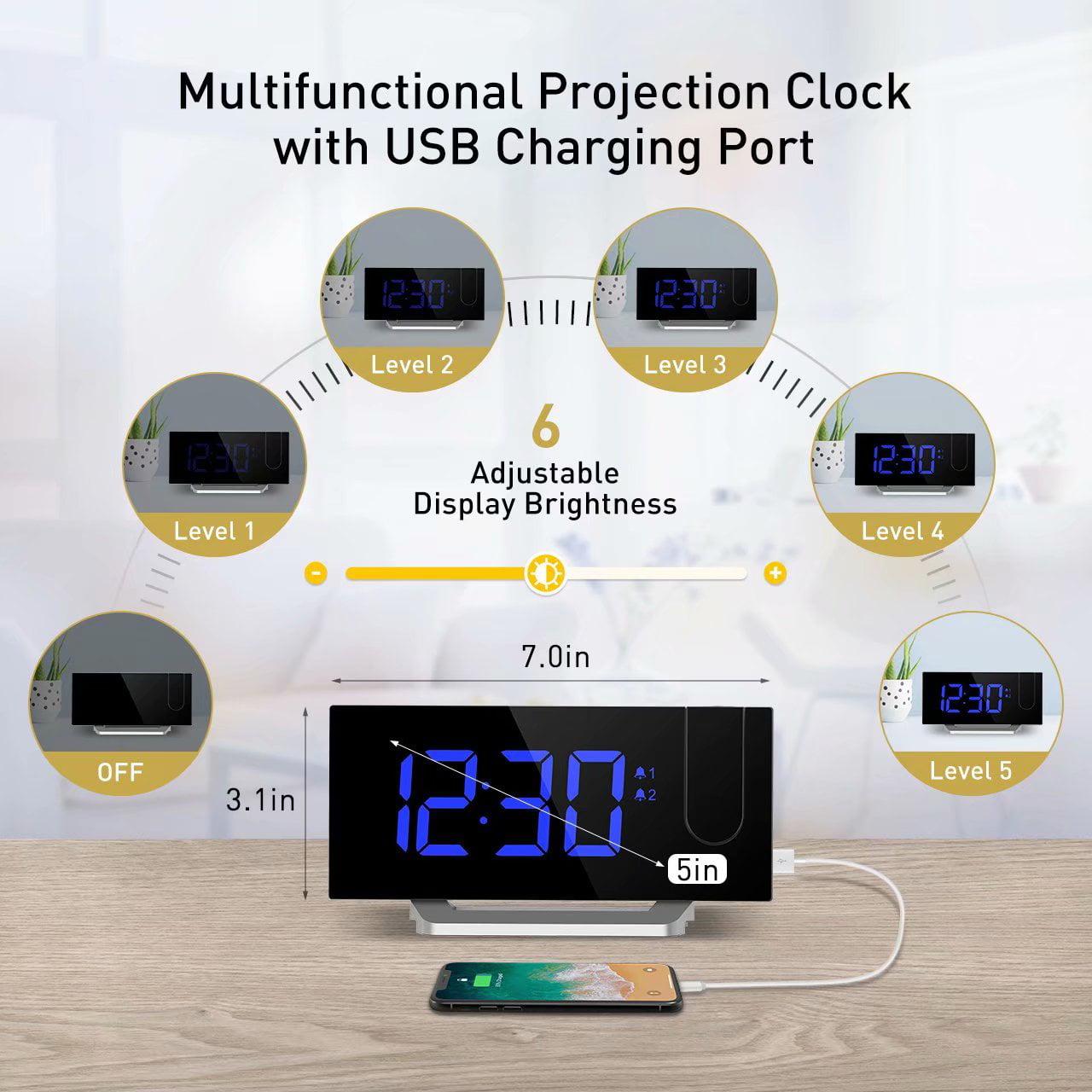 "5/"" LED Digital Alarm Clock 12//24 Hour Switchable Curved Screen 3 Alarm Sound USA"