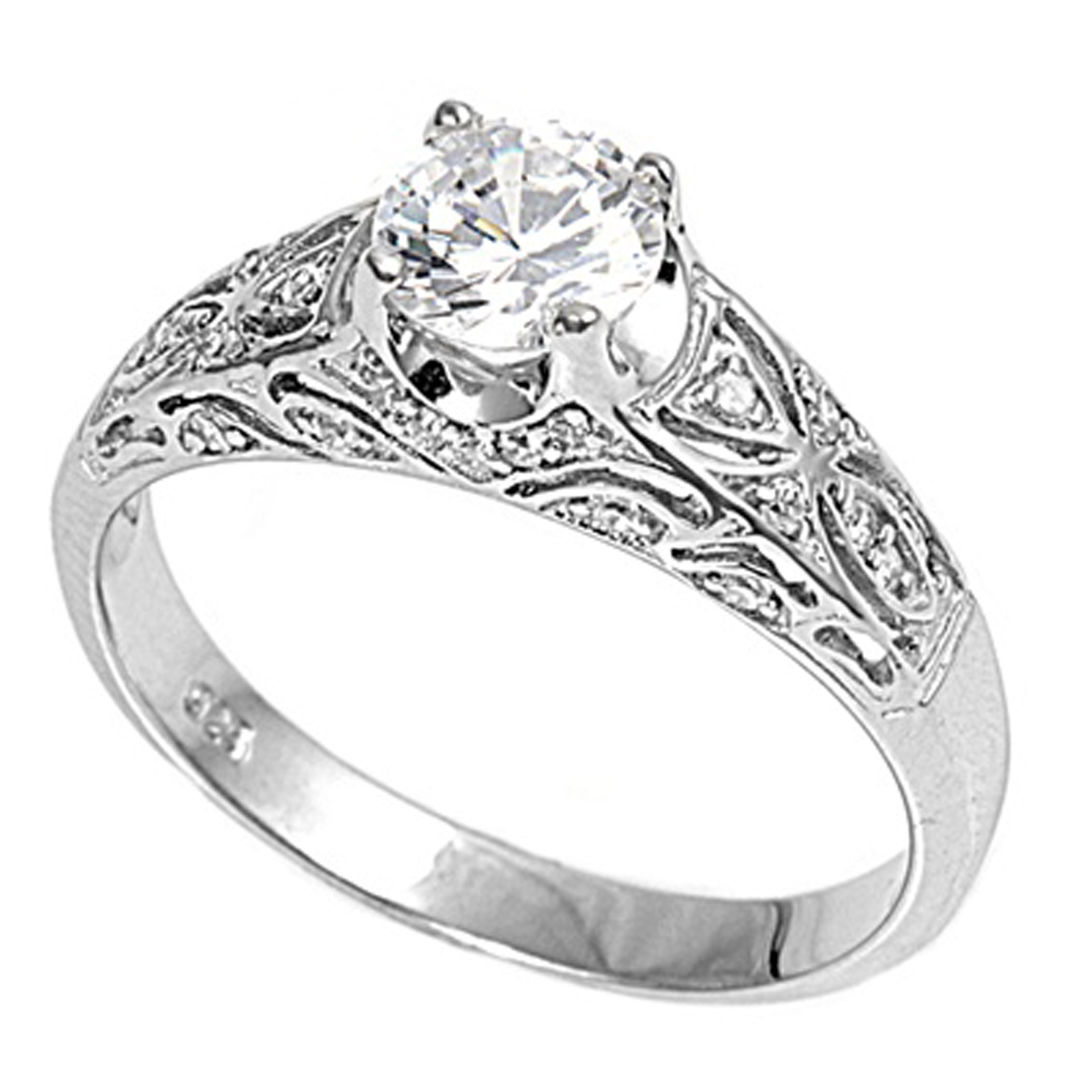 Sterling Silver Women's Clear CZ Engagement Ring ( Sizes 3 4 5 6 7 8 9 10 11 12 ) Cute 925 Band 6mm Rings by Sac Silver (Size 4)