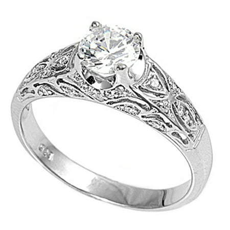 Sterling Silver Women's Clear CZ Engagement Ring Cute 925 Band 6mm Size 10