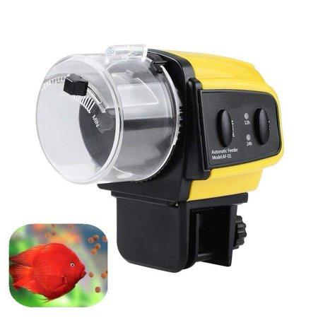 Electric Fish Feeder (GHP 10.5x6.5x9.5cm Black Yellow Electric Aquarium Automatic Food Dispenser Fish Feeder)