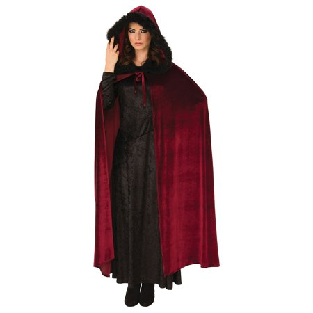 Red Hooded Cape Costume (Hooded Cape Adult Costume Burgundy)