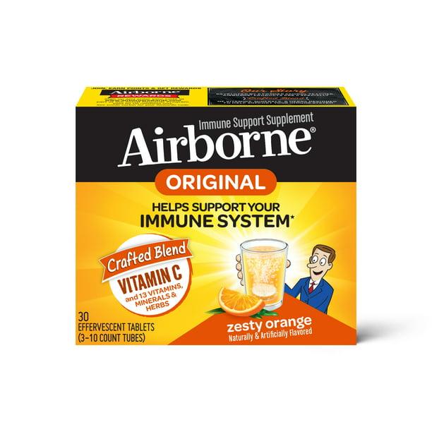 Airborne Vitamin C Effervescent Tablets, Zesty Orange, 30 ct