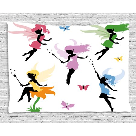 Fantasy Tapestry, Cute Pixie Spirit Elf Fairies Flying with Butterflies Girls Princess Flowers Design, Wall Hanging for Bedroom Living Room Dorm Decor, 60W X 40L Inches, Multicolor, by Ambesonne