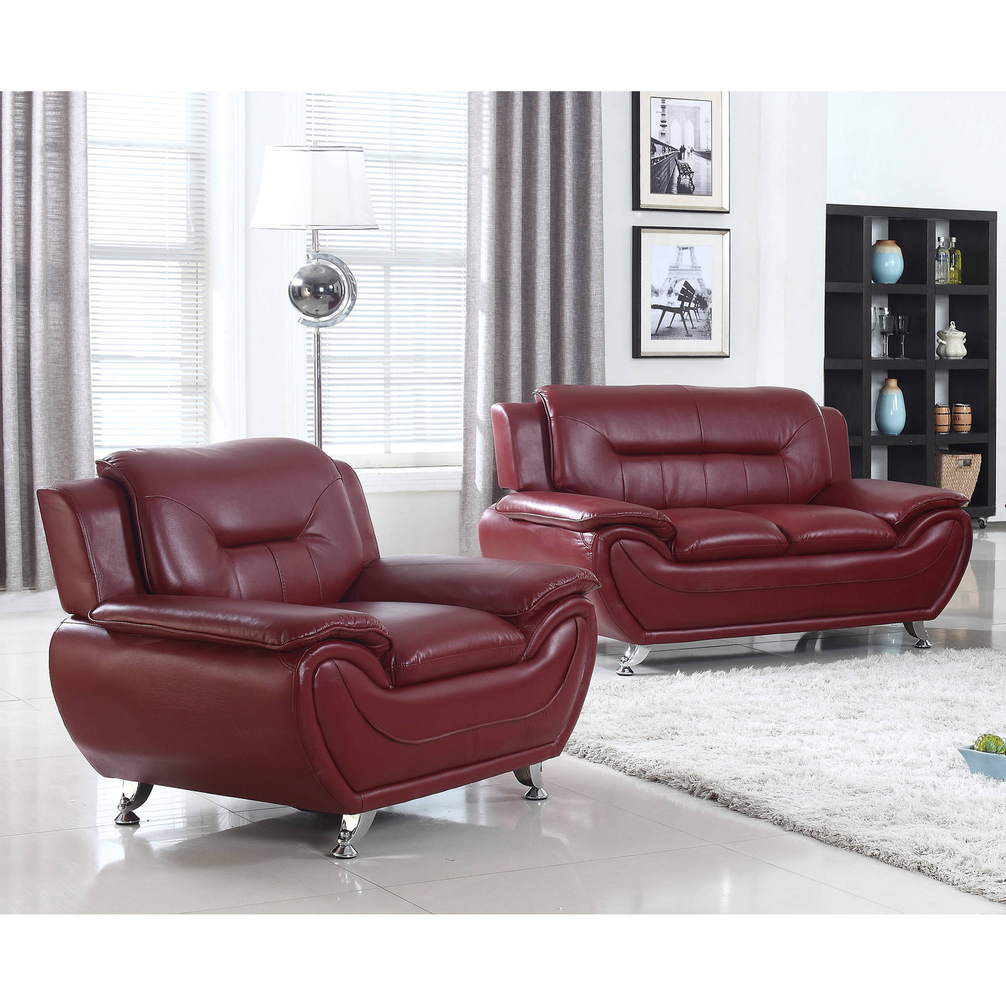 UFE Norton Burgundy Faux Leather 2-Piece Modern Living Room Loveseat and Chair Set