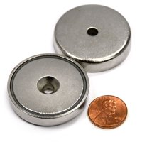 "CMS Magnetics® 112lbs 1.57""x0.32"" Neodymium Cup Magnet Mounting Kit - Mounting Plate & Stainless Steel Screws Included"