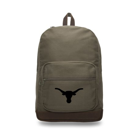 Texas Longhorns Canvas Leather University Laptop Backpack Best School Book