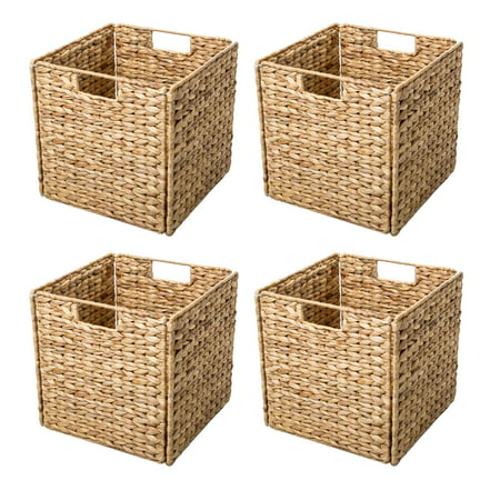 Foldable Hyacinth Storage Basket with Iron Wire Frame By Trademark Innovations (Set of 4)