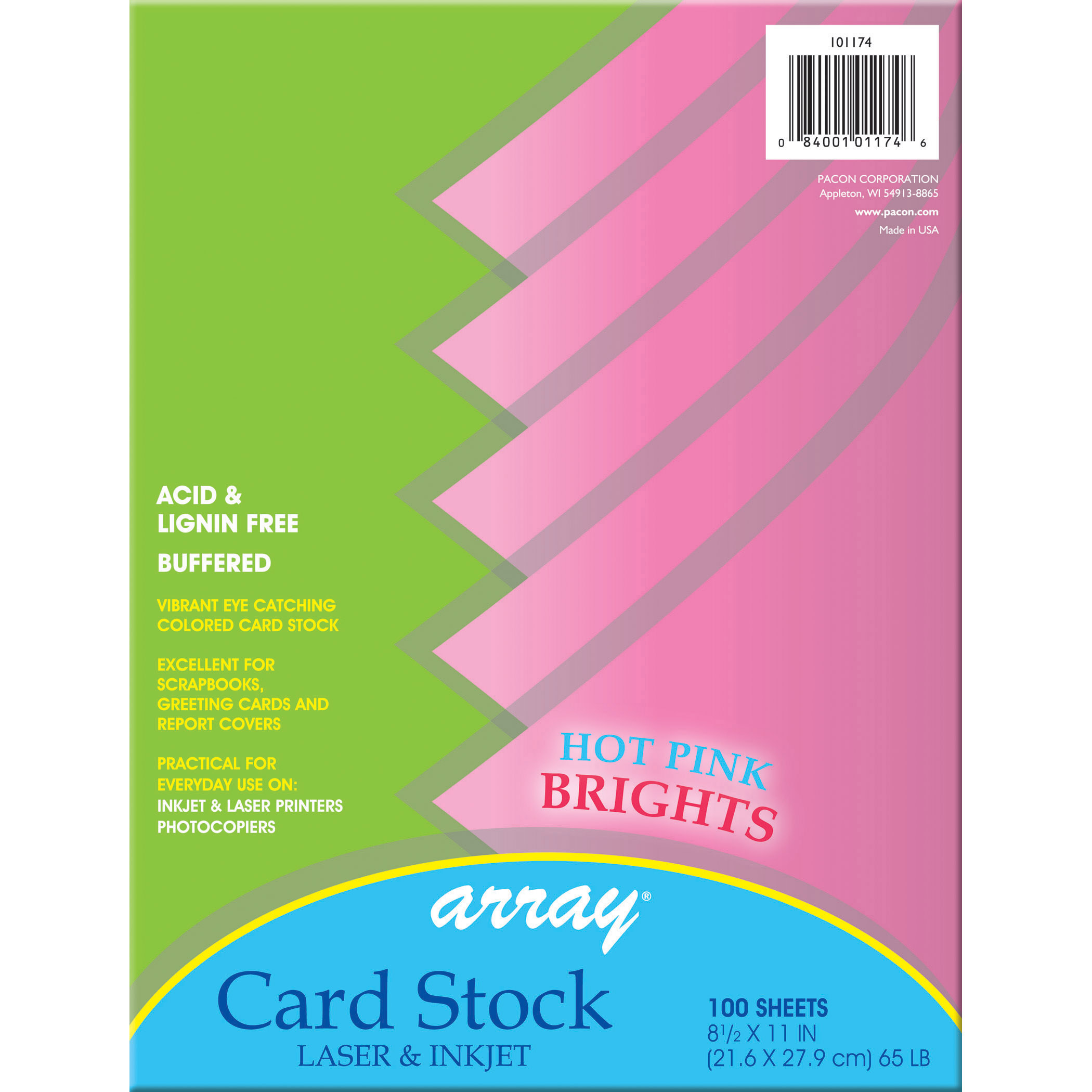 Array Card Stock, Hot Pink, 100 SHeets Per Pack, 2 Packs by PACON CORPORATION