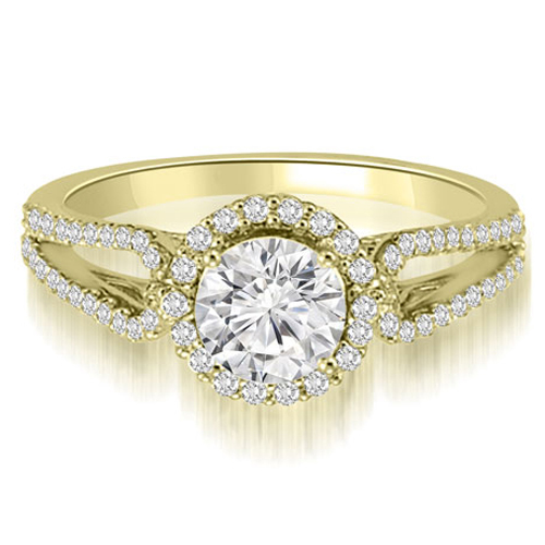 0.85 CT.TW Halo Split-Shank Round Diamond Engagement Ring in 14K White, Yellow Or Rose Gold