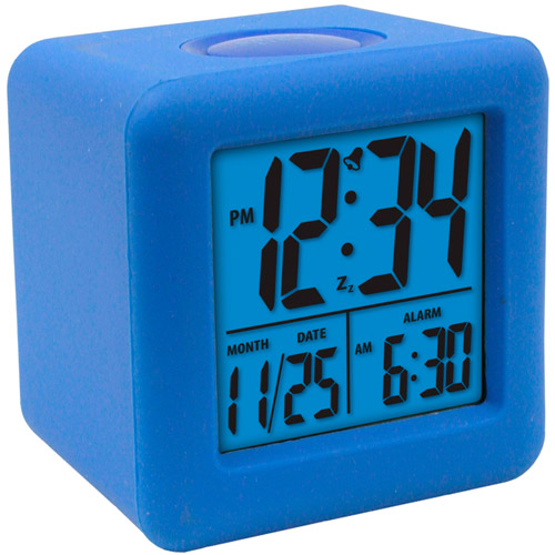 Centre Way Electronic Factory Equity Cube LCD Alarm Clock, Blue