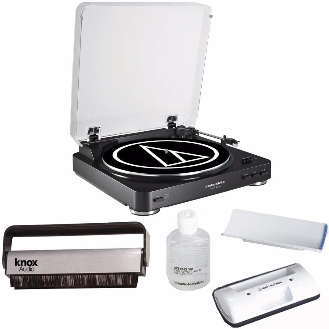 Audio Technica ATLP60BK Bluetooth Turntable w  Knox Vinyl Brush & Cleaning Kit by Audio-Technica