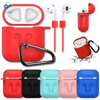 Deago Silicone AirPods Case Shockproof Earphone Box Protector Sleeve Skin Cover Pouch Charging Case With Strap For AirPods (Green)