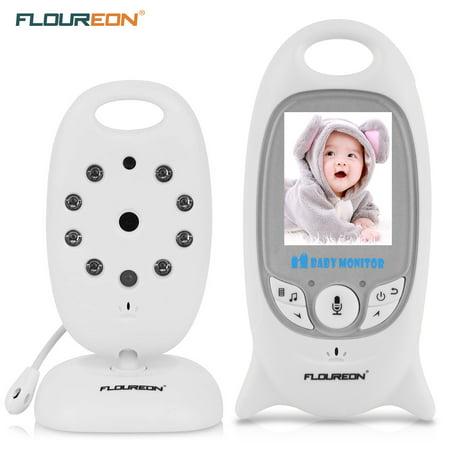 FLOUREON Digital Wireless 2.4 GHz Baby Monitor with camera Infant IR LCD Video Nanny Security Camera Temperature Display 2 Way Talk Night Vision Lullabies Radio US ()