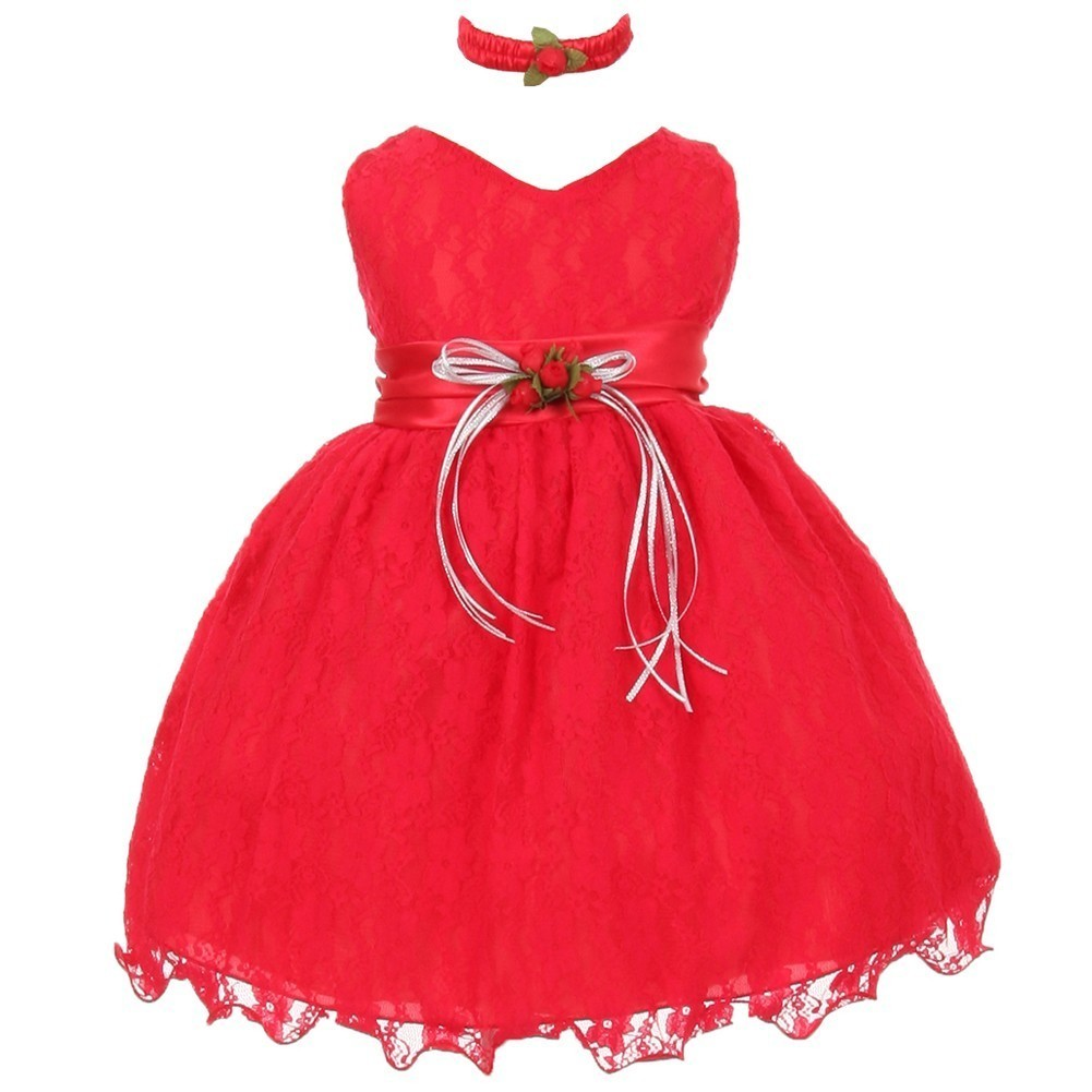 Baby Girls Red Lace Overlay Flower Sash Special Occasion Dress 18M