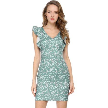 Women's Floral V-Neck Slim Bodycon Pencil Sheath Dress Green XS (US 2) - image 6 de 6